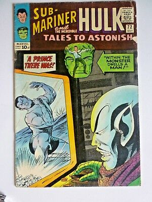 Tales To Astonish 72 1965 Silver Age Marvel Comics Sub-Mariner Hulk