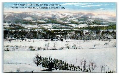 Early 1900s Blue Ridge Mountains Covered in Snow, Western NC Postcard