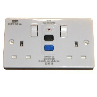 RCD Double Socket 13A 30mA Switched Safety - Replaces a Standard Socket Outlet