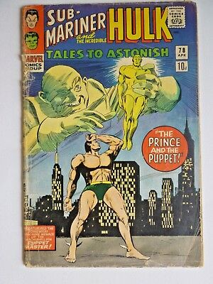 Tales To Astonish 78 1966 Silver Age Marvel Comics Sub-Mariner Hulk
