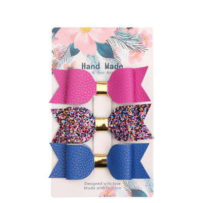 3pcs/card Trensy Leather Glitter Hair bow Suits For Girls Kids Solid Hairpins