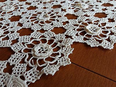 "ANTIQUE Vintage Hand Crochet Lace Rhomboid Tablecloth Ecru, 29""x16,5"" 3D Flowers"