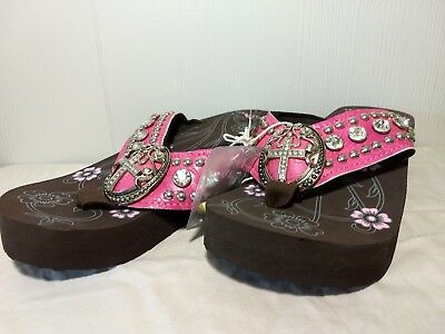 11c1c5add89917 Montana West Hot Pink Wedge Sole Oval Bling Cross Concho Flip Flops Sandals  Sz 7