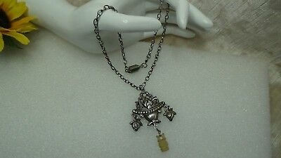 """Antique Vintage Chinese Ster Silver Rare Double Sided Pendant Necklace 17"""""""