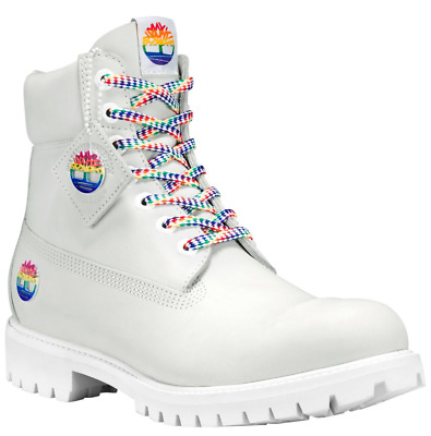 Timberland Mens Limited Release White  6 Inch Premium Boots A1QWE Rainbow