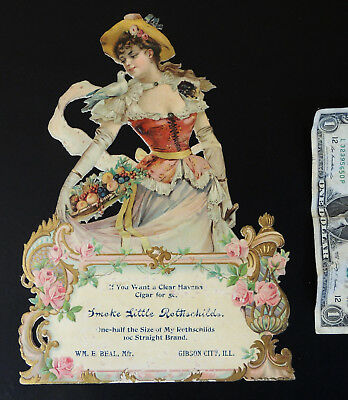 Rothchilds CIGAR Antique Victorian Girl Die-Cut CALENDAR TOP Beal Gibson City IL