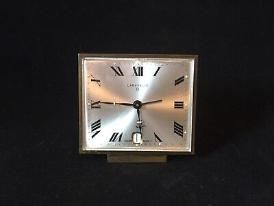 Vintage Caravelle 8 Day Brass Alarm Clock Swiss Made Model C2261