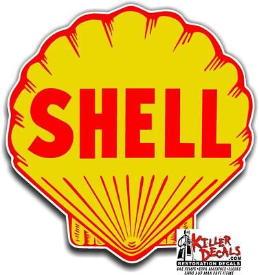 "(shell #2) 8"" SHELL gasoline pump LUBSTER DECAL GAS OIL STICKER"