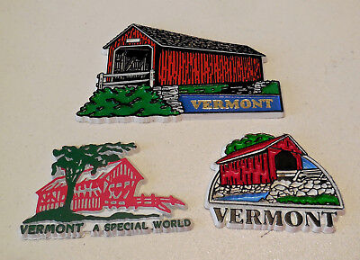 Lot of 3 Vermont Covered Bridge Magnets