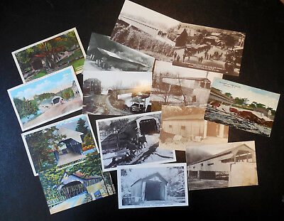 Lot of 13 old covered bridge postcards NH OH PA IN DE