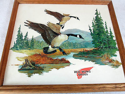 Vintage Red Wing Shoes Canada Geese outdoor scene raised plastic store sign