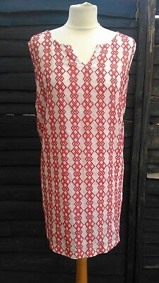 Next Maternity Vest Top Tunic Red White Embroidered Sleeveless Summer Diamond 22
