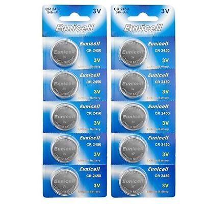 Eunicell CR2450 5029LC Lithium Blister Pack 3V 3 Volt Coin Cell Batteries (10 pc
