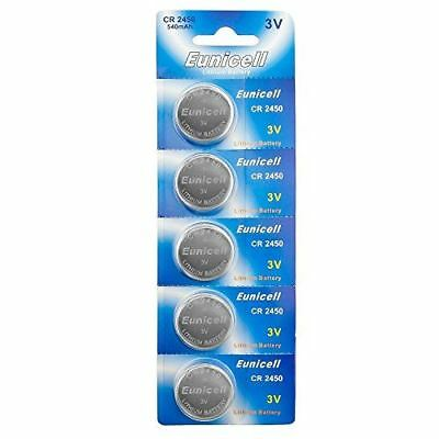 Eunicell CR2450 5029LC Lithium Blister Pack 3V 3 Volt Coin Cell Batteries (5 pcs