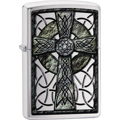 Zippo 29622 Brushed Chrome Classic Celtic Cross Windproof Lighter