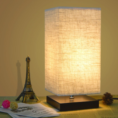 Table Desk Lamp Bedside With Fabric Shade and Solid Wood for Bedroom, Dresser