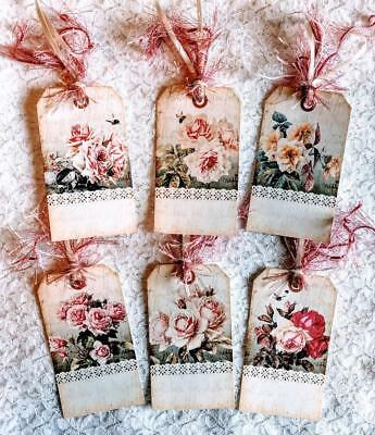 Set of 6 Hang Tags~Vintage Lace & Roses ~Gift Tags~Scrapbook's~Card Making~#151R