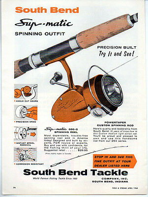 1964 Vintage Ad South Bend Supr-Matic 606-G Fishing Reels & Powertaper Rods