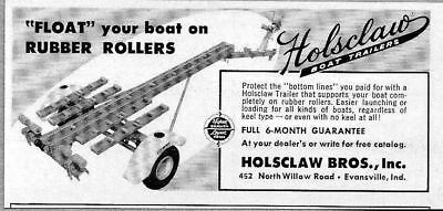 1960 Print Ad Holsclaw Boat Trailers Rubber Rollers Evansville,IN