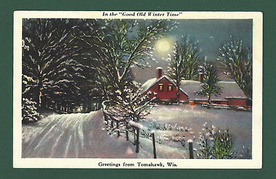 """Greetings From Tomahawk WI """"Good Old Winter Time"""" Vintage Unused Linen Postcard"""