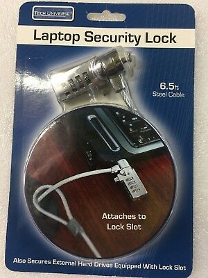 brand new laptop security universal lock 6.5 ft steel cable