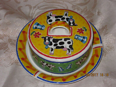 Dunoon Stoneware Butter Dish And Cover-Farmyard Design By Jane Brookshaw-Unused