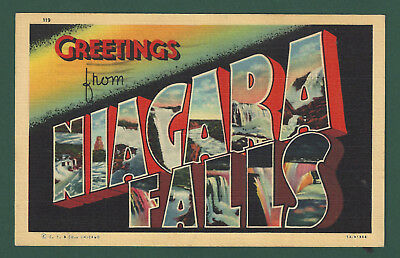 Greetings from Niagara Falls Large Letter Vintage Used Linen Postcard 1941 PM