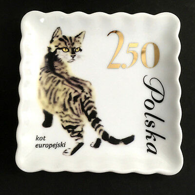 European Cat Plate Doghaus Ceramic Jewelry Dish Collectable Tray Polish Kot