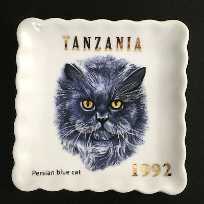 Persian Blue Cat Collectable Plate Ceramic Jewelry Dish Catch all Tray Doghaus