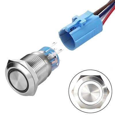 19mm 12V Momentary/Latching 1NO1NC LED Push Button Switch with Wire Socket Plug