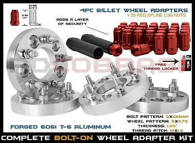 "4 Pc 5X100 Converts To Wheel Bolt Pattern 5X4.75 (1.25"" Thick ) +12X1.5 Lug Nuts"