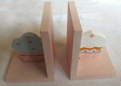 Pair Of Pink Cupcake Wooden Bookends