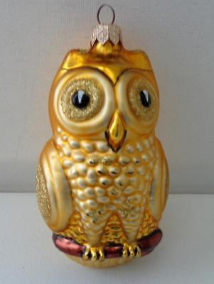 """Owl Christmas Ornament - Blown Glass - Gold & Silver  - Approx. 5"""""""