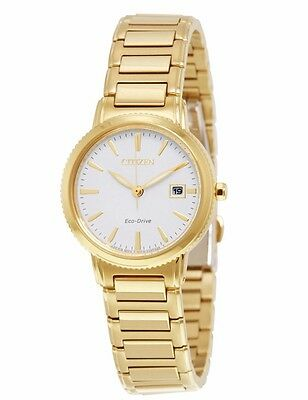 Citizen Eco-Drive Women's EW2372-51A Silhouette Gold Tone White Dial Watch