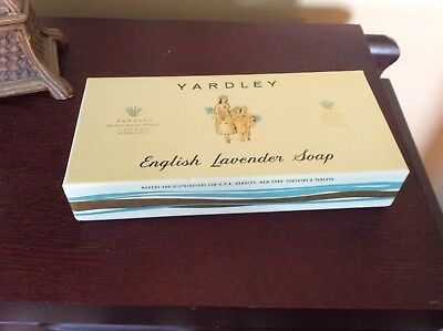 Vintage Yardley English Lavender Soap 3 Bars NEVER OPENED in Box