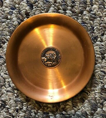 New Hampshire Solid Copper Coaster Ash Tray Old Man Of The Mt. Rare 50 Years Old