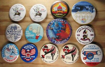 Lot of 13 Vintage St. Paul Winter Carnival Pinback Buttons - 1966 to 2002