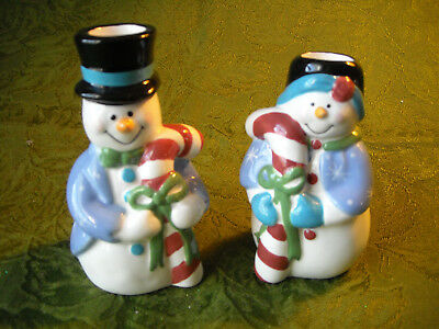 Vintage Flurries Collections Snowman & Snowlady Candle Holders Figurines Ceramic