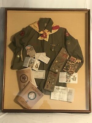 Vintage 1938 Boy Scout Uniform, Badges, & Booklets Framed Collage.
