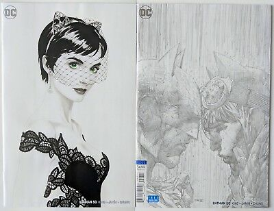 Batman #50 Jim Lee 1:100 Pencils Sketch Var & Joshua Middleton B&w Variant Nm