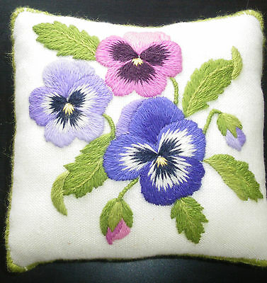 Pansy Pincushion- a crewel embroidery kit for beginners