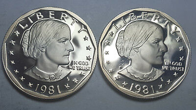 1981-S Proof Susan B. Anthony Dollar Type 2 Clear S Type 1 Filled S Deep Cameo