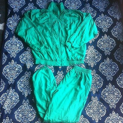 Vintage Bocoo Womens Two Piece Track Suit Size Medium 1990's Green
