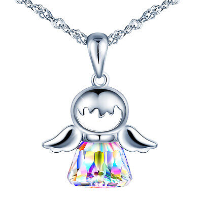 Women Girls 925 Sterling Silver Crystal Angel Wings Pendant Necklace Gift Card