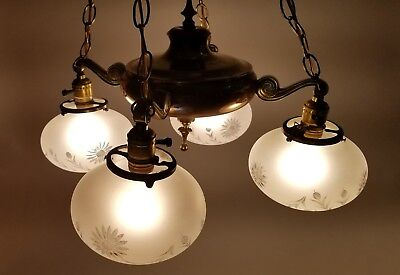 Antique 1920s Brass 4-Arm Pan Chandelier Light Lamp Large STUNNING Etched Globes