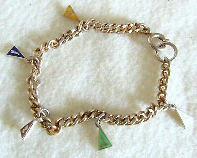 Sweet Vintage Order of the Eastern Star Masonic Enamel Charm Bracelet