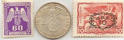* WWII - *german  STAMP and   SILVER  EAGLE coin + *greek Stamp