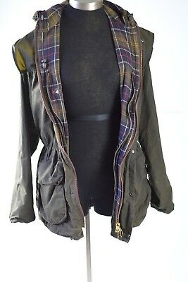 Barbour Durham Jacket Size C36 England Waxed Cotton Lined Coat Hooded Anorak