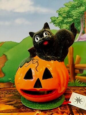 Rare Radko INO Schaller Halloween JOL PUMPKIN BLACK CAT JACK O LANTERN LIGHT