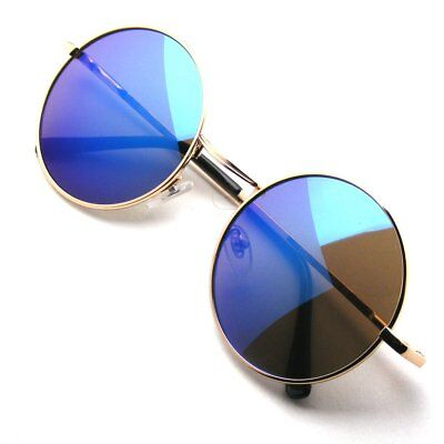 Retro Round Metal Womens Mens Fashion Glasses Frame Lens Sunglasses Eyewear EELe